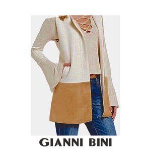 Ivory & Tan Long Line Vest / Topper